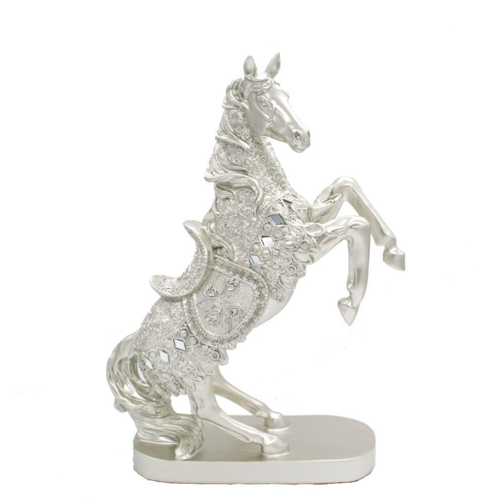 Silver Resin Standing Horse Statue Sliver Animal Sculpture Horse Figurine Home Office Decor Gift
