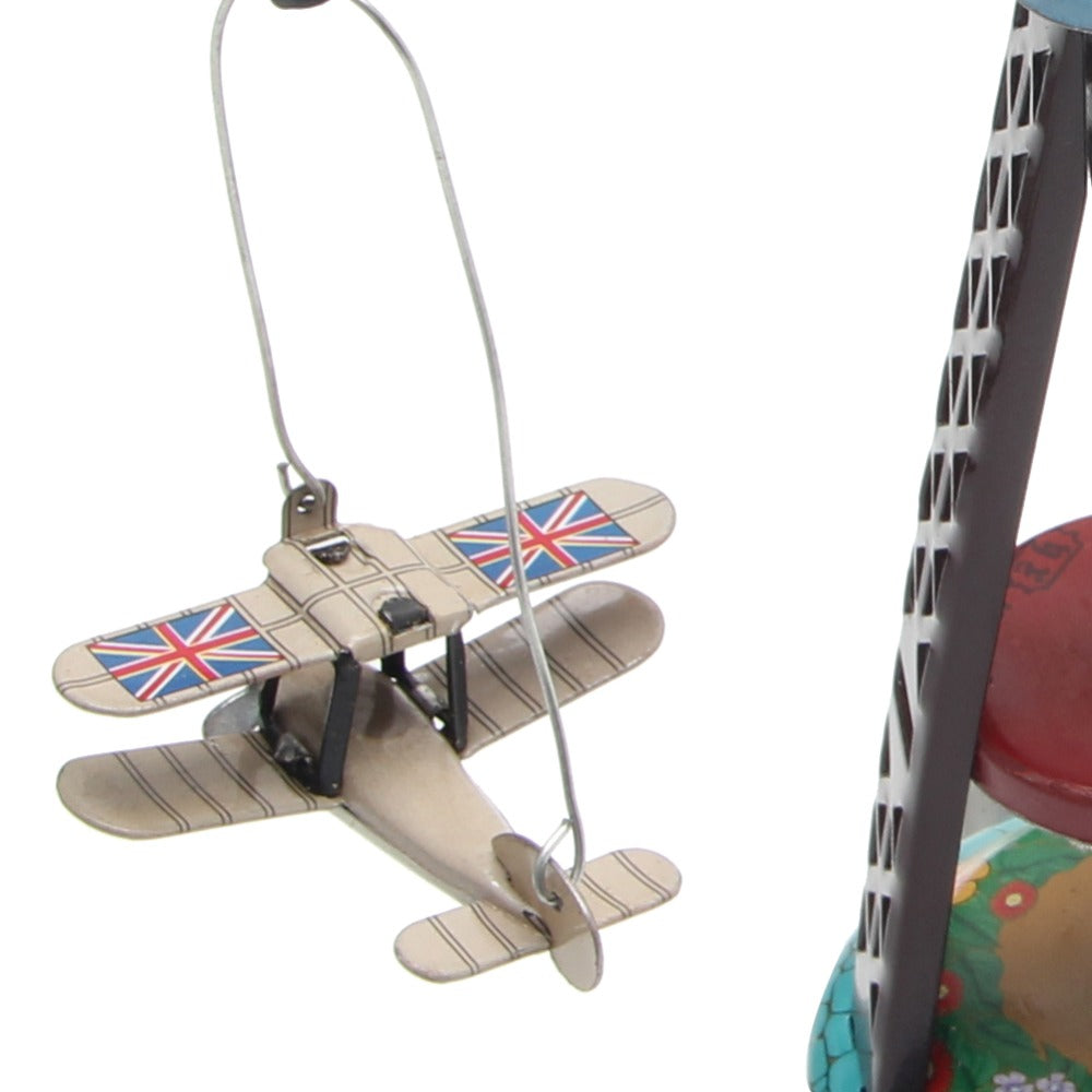 Vintage Wind Up Rotating Airplane Carousel Clockwork Toy Collectible