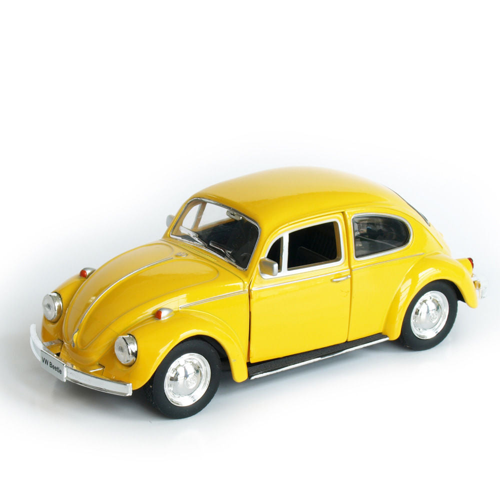 Model Car Toy Scale Yellow VW Beetle Vintage Diecast Pull Back Car Kids Toys