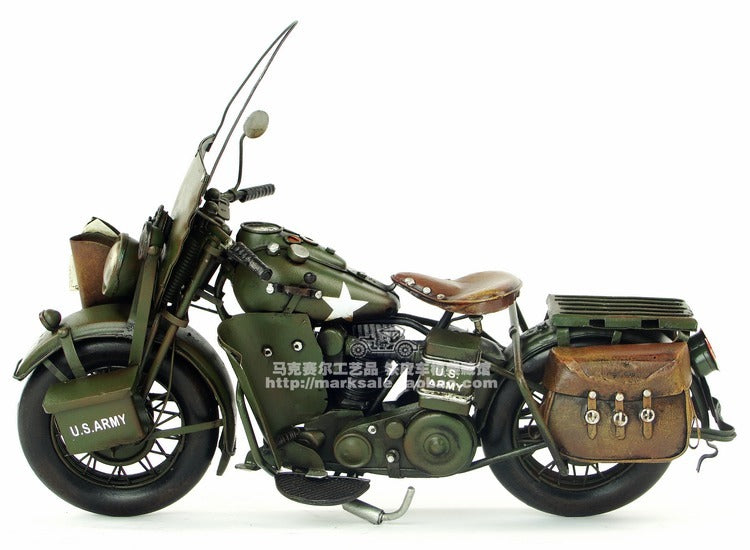 Vespa Model Motorcycle Vintage US Army WAL Metal Motorcycle Toy