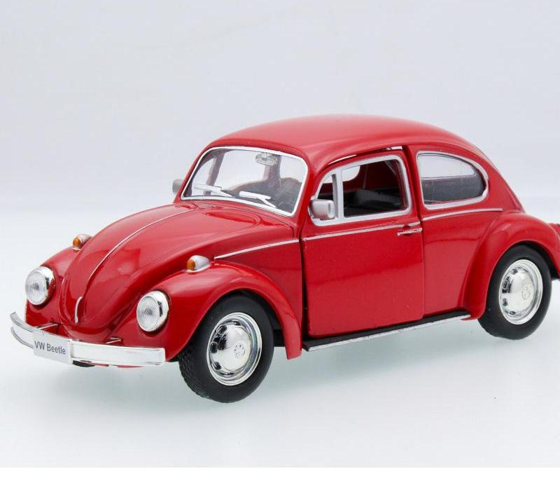 Mini Beetle Vintage Car Zinc Alloy Model Car Sound&light Pull Back Toy Doors