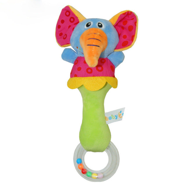 Soft Plush Elephant Baby Handbell Rattle