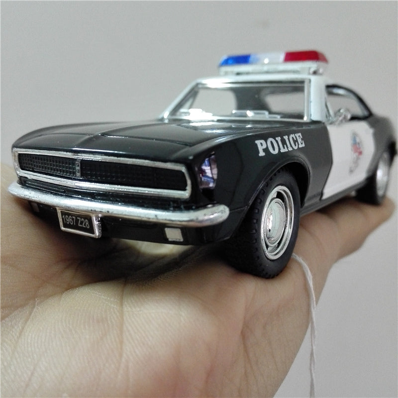 Vintage Car Styling Camaro Police Classic Alloy Diecast Toy Vehicle Model