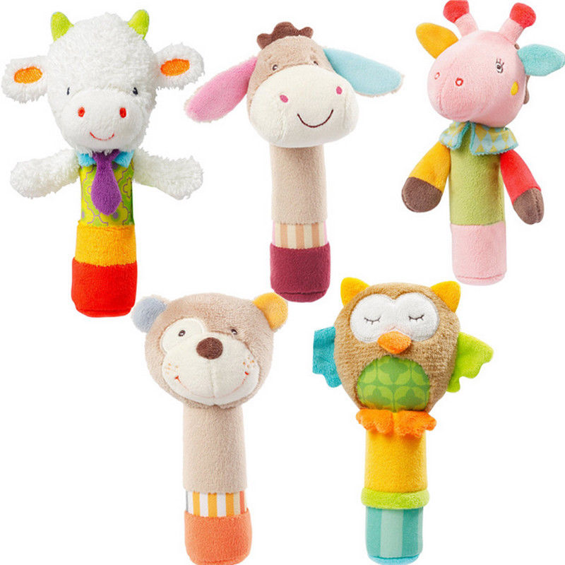 Animal Soft Stuffed Infant Baby Plush Toys Rattles Kids
