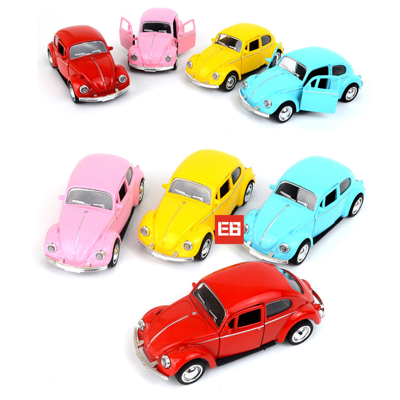 Vintage Cars Beatle Metal Model Collection Pull Back Alloy Toys With Light And Sound