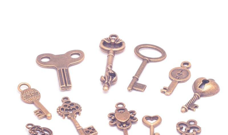Small Key Mix Key Pendant Collection Mixed Antique Bronze