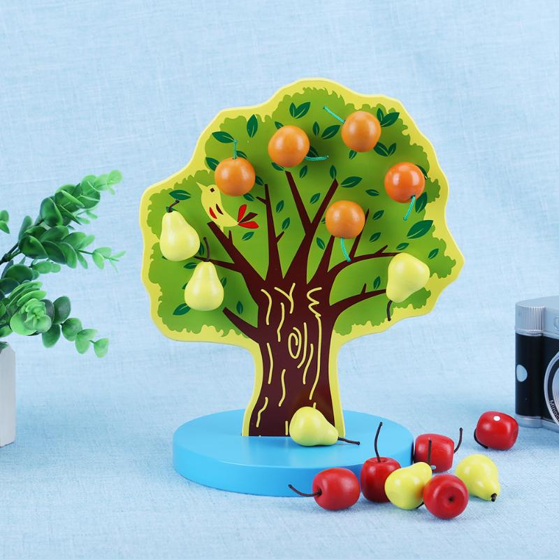 Children Kids Wooden Magnetic Fruit Tree Lacing Beading Tree Block Model Toy