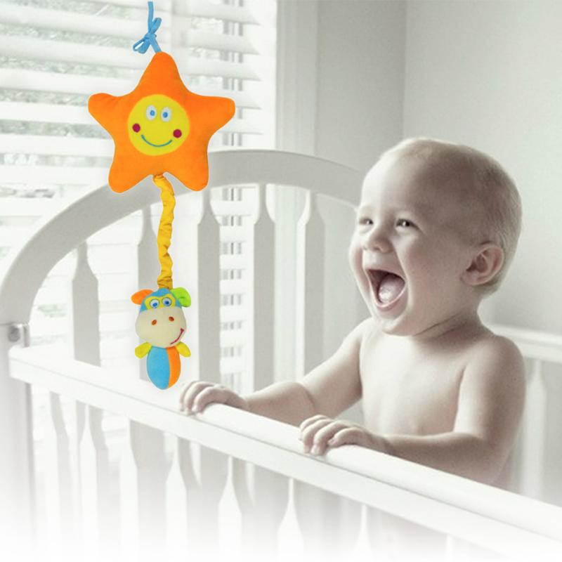 Lovely Musical Bed Crib Stroller Hanging Bells Doll Developmental Toy Babies Present