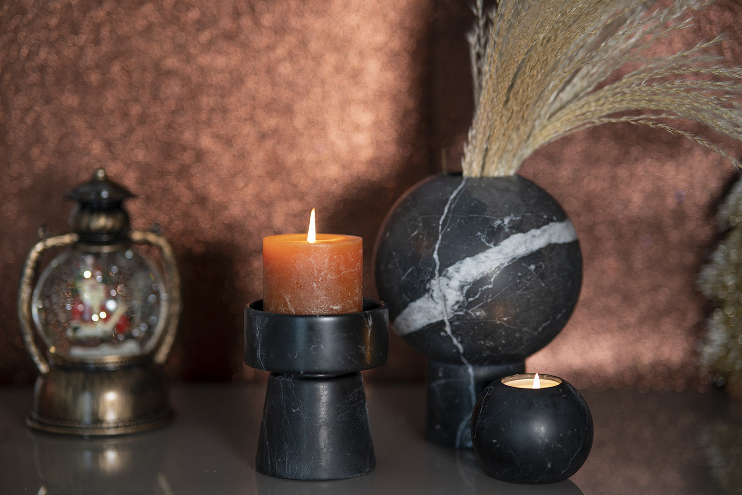 Candle Holder by CARRARA_HOME_DESIGN® in Marmo Nero Marquina