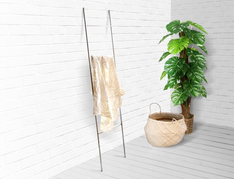 Blanket Display Skinny Ladder storage with support by Atelier Article