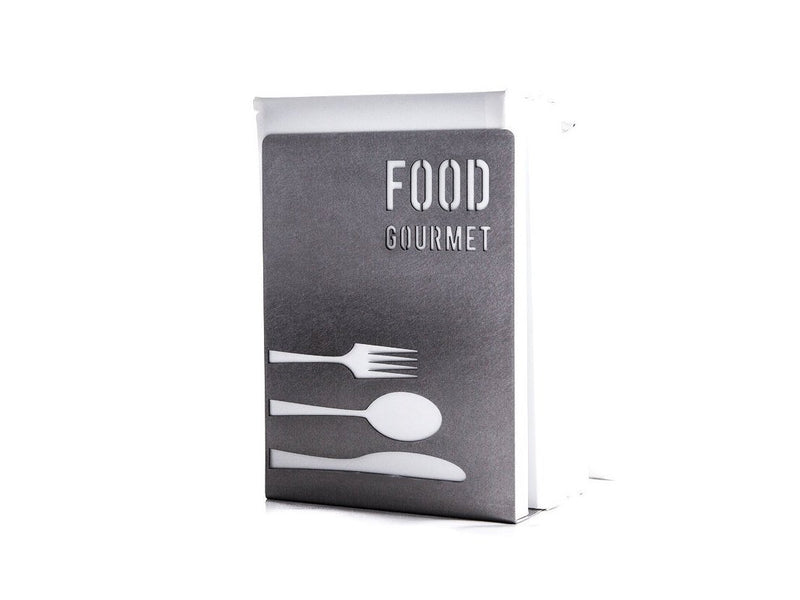 Metal kitchen bookend // Food Gourmet // modern functional shelf decor - Design Atelier Article