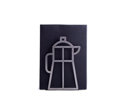 A Metal Kitchen bookend // Coffee pot // cookbook book holder by Atelier Article - Design Atelier Article
