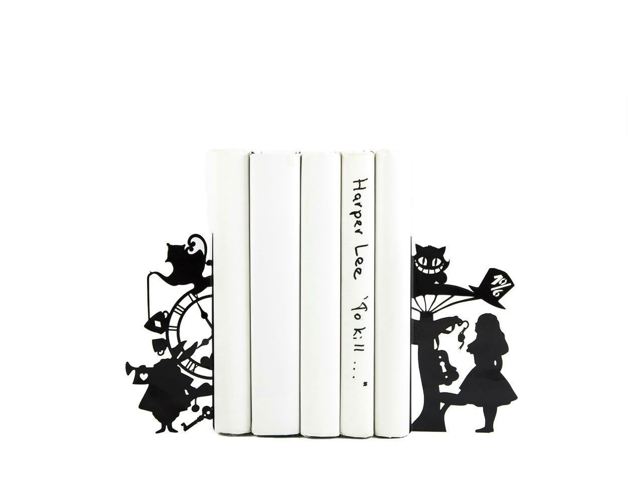 Bookends Alice in Wonderland // Lewis Carroll // Kid's Room Decor // Nursery  // Free Shipping // Metal decorative bookends // Tea Party