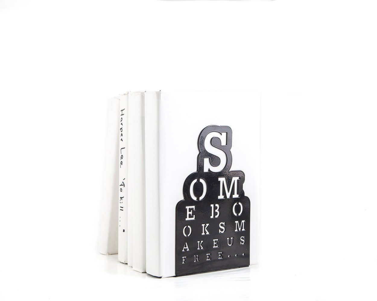 One metal bookend // Eyesight chart // Some books make us free // free shipping - Design Atelier Article