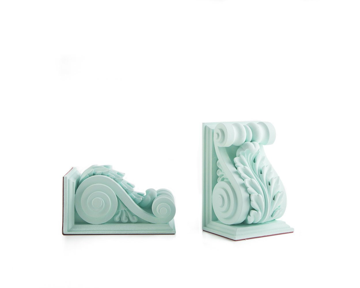 Plaster Bookends // Lucite Green Plaster // Classical Acanthus Corbel Bookends // modern home decor // housewarming gift // FREE SHIPPING