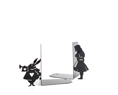 Metal Bookends Alice and White Rabbit // Alice in Wonderland // Lewis Carroll // Kid's Room Decor // Nursery  // Free Shipping - Design Atelier Article