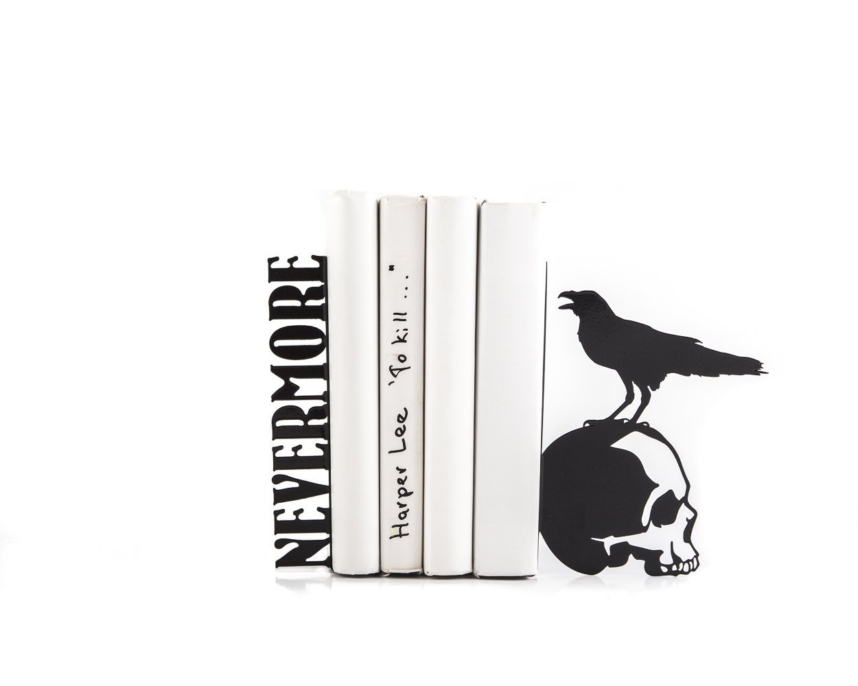 Metal Bookends Nevermore // Raven on a skull // EDGAR ALLAN POE by Atelier Article - Design Atelier Article