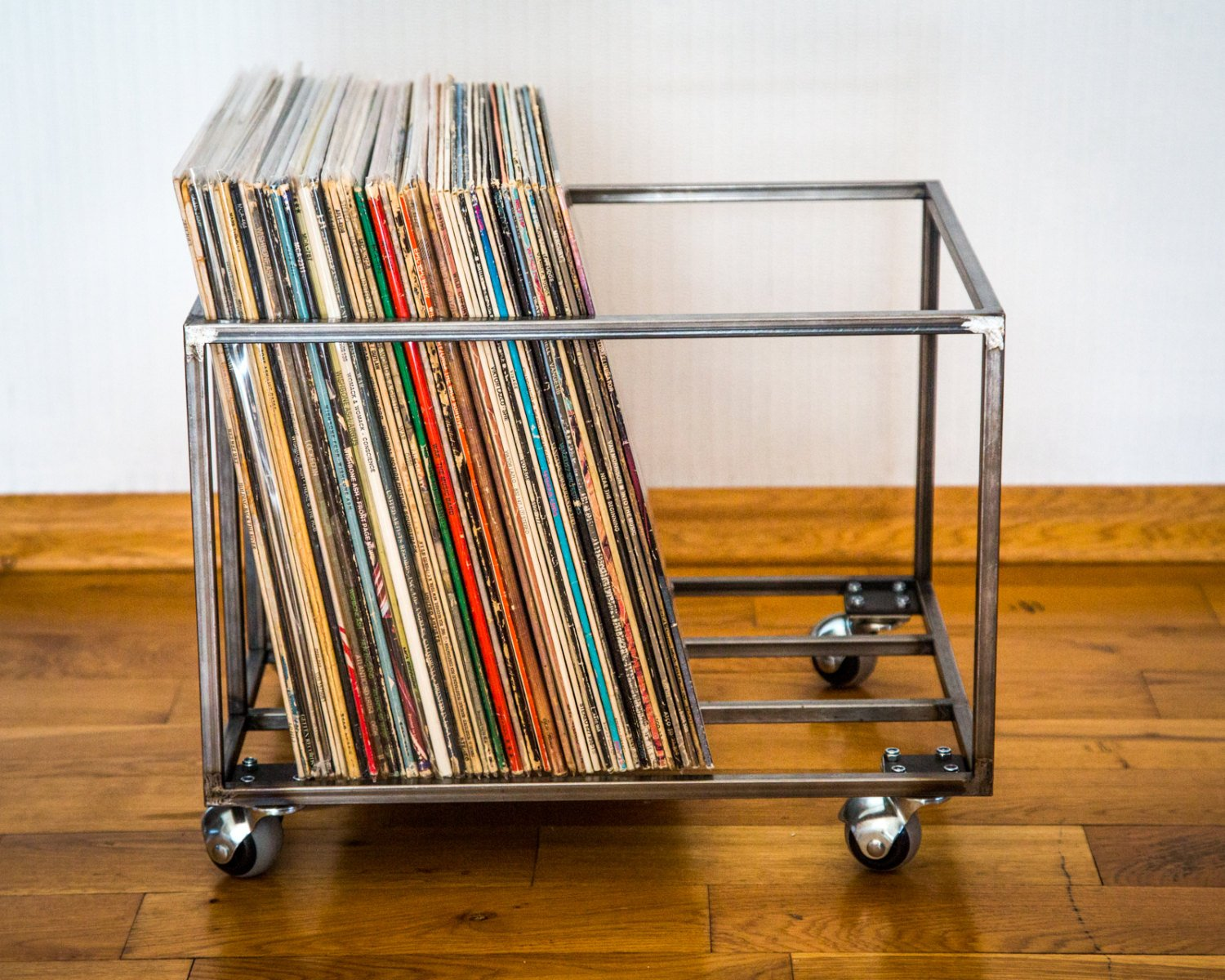 LP storage Album crate // on 4 rotating wheels // holds over 80 LPs by Atelier Article - Design Atelier Article