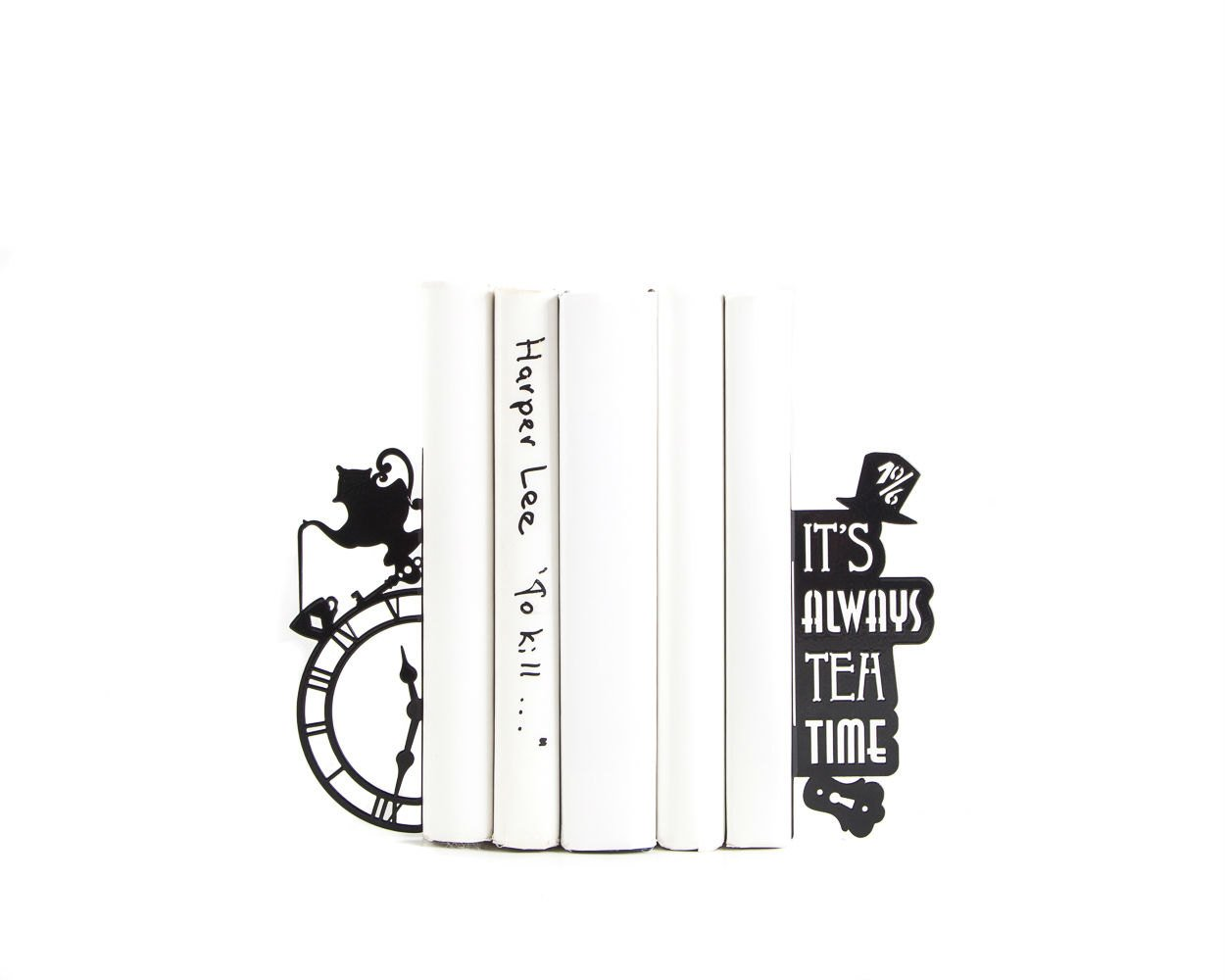 Bookends Mad Tea Party // Alice in Wonderland // Lewis Carroll // Kid's Room Decor // Nursery  // Free Shipping // Metal decorative bookends - Design Atelier Article