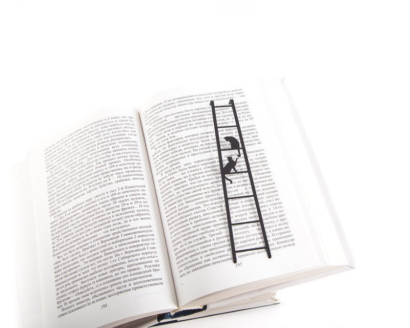 Metal Bookmark for books Cats on the stairs - Design Atelier Article