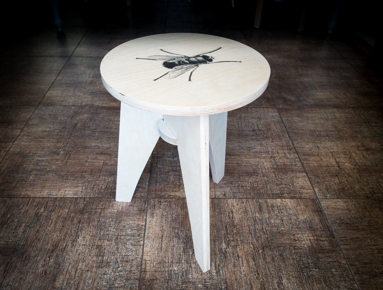 Direct print on wood customizable plywood stool with a print of your choice // free shipping world wide - Design Atelier Article