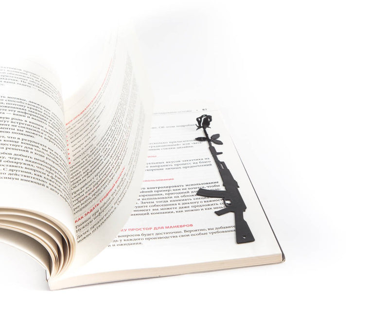 Metal Bookmark for books Gun and Rose - Design Atelier Article