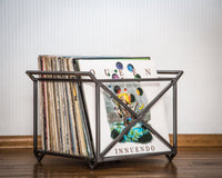 LP storage crate / Present for vinyl collector / container with side handles - Design Atelier Article