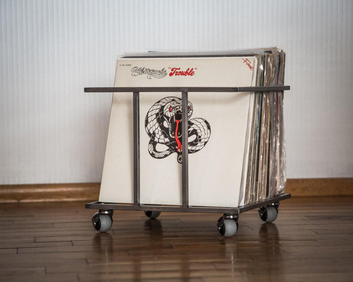 LP storage metal crate // minimalistic container on four free rotating wheels // holds 70 LP records // free shipping - Design Atelier Article