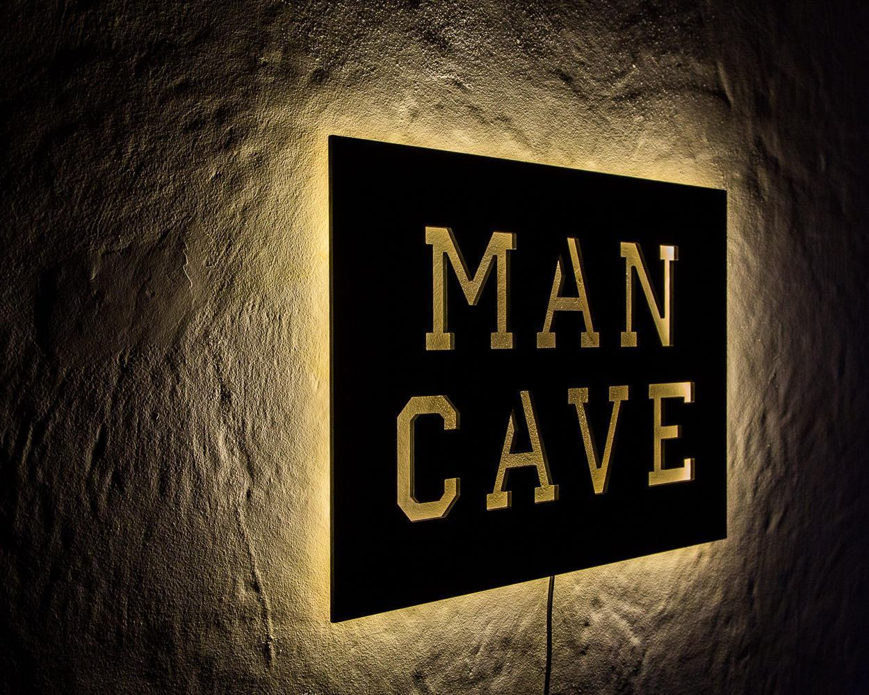 Man Cave Wall light LED Sign // Wall Art // Handmade from MDF Unique Wall LED light // Universal current adapter - Design Atelier Article