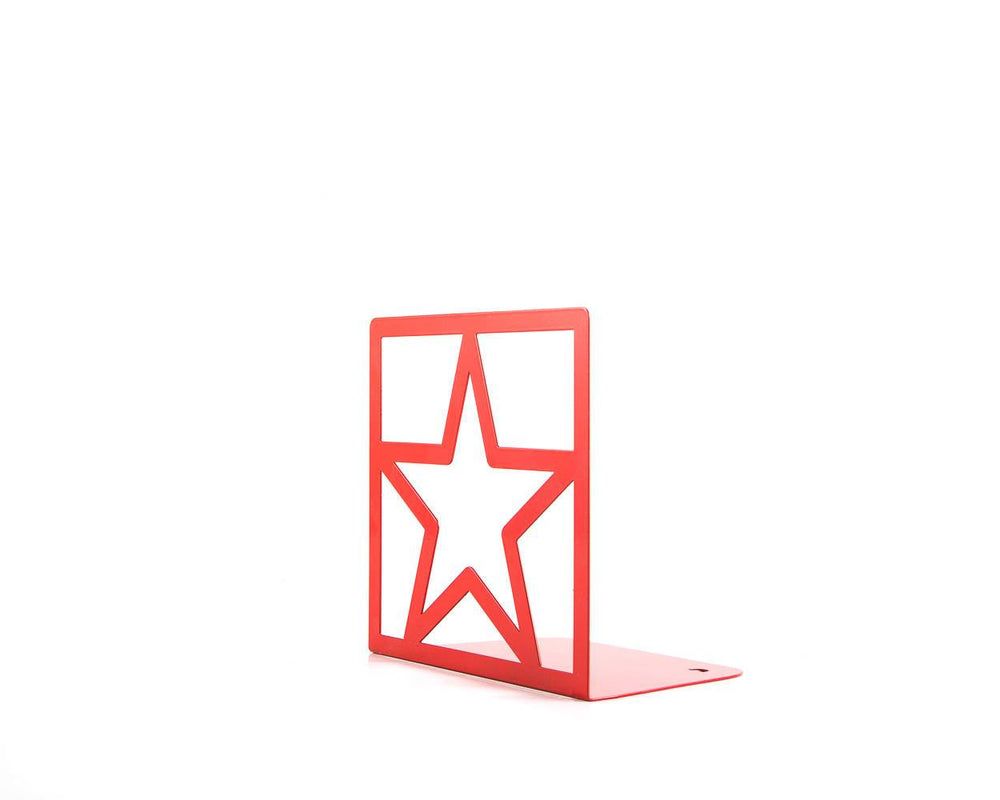 Metal bookends Red Star // unique design book holders for modern home - Design Atelier Article