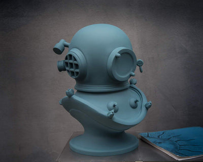 Diving helmet Berlin Blue edition // Steampunk bust // Sculpture by Atelier Article - Design Atelier Article