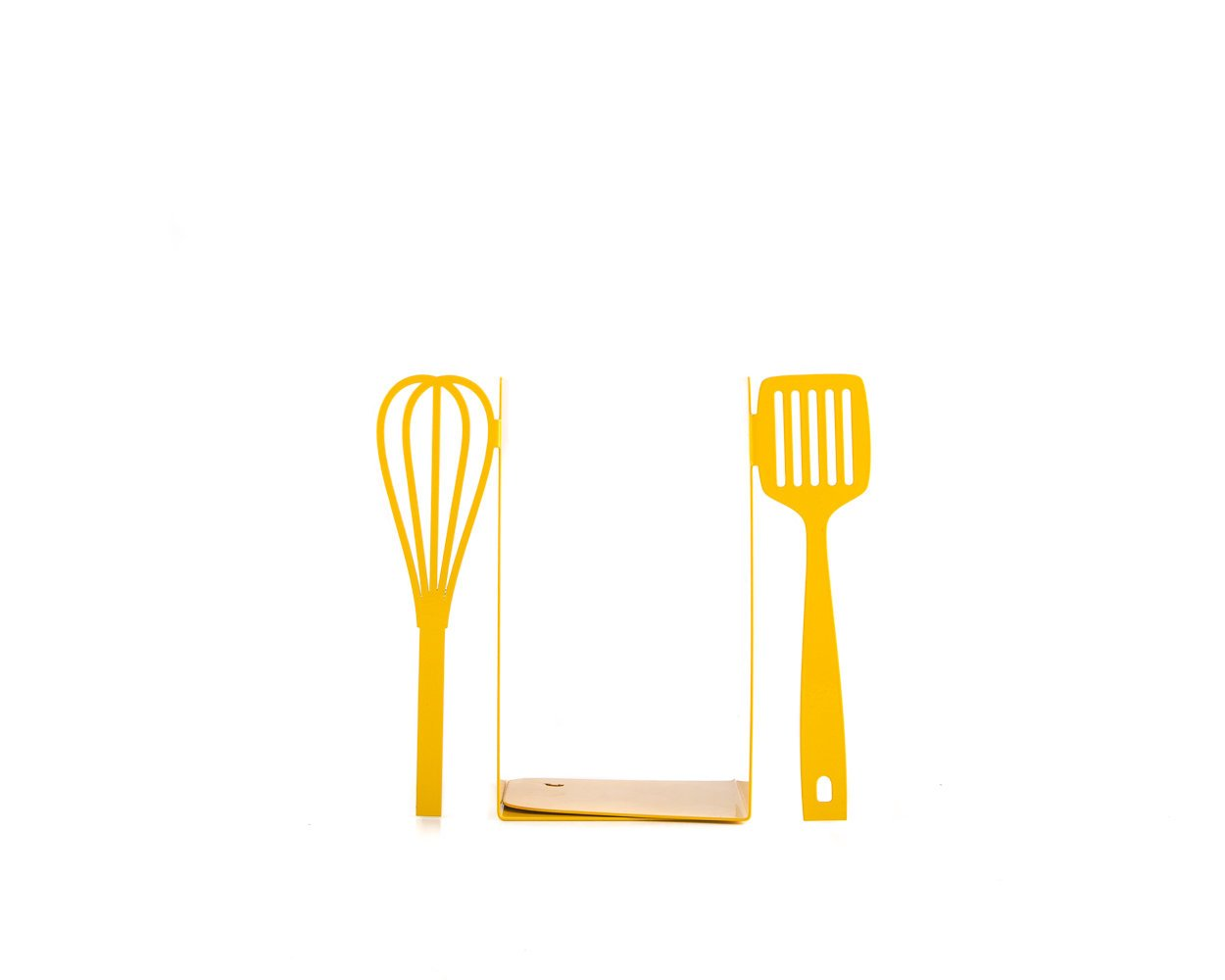 Gift for a chef Yellow Spatula and whisk bookends // kitchen stands for cookbooks // kitchen decorating ideas // FREE WORLDWIDE SHIPPING // - Design Atelier Article