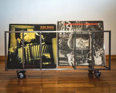 LP storage // two row box for LPs storage on five wheels // holds 100 LP records - Design Atelier Article
