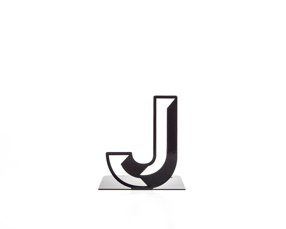 One metal bookend J -Letters are beautiful- alphabet series use to spell initials // secret message/anything meaningful to you/free shipping