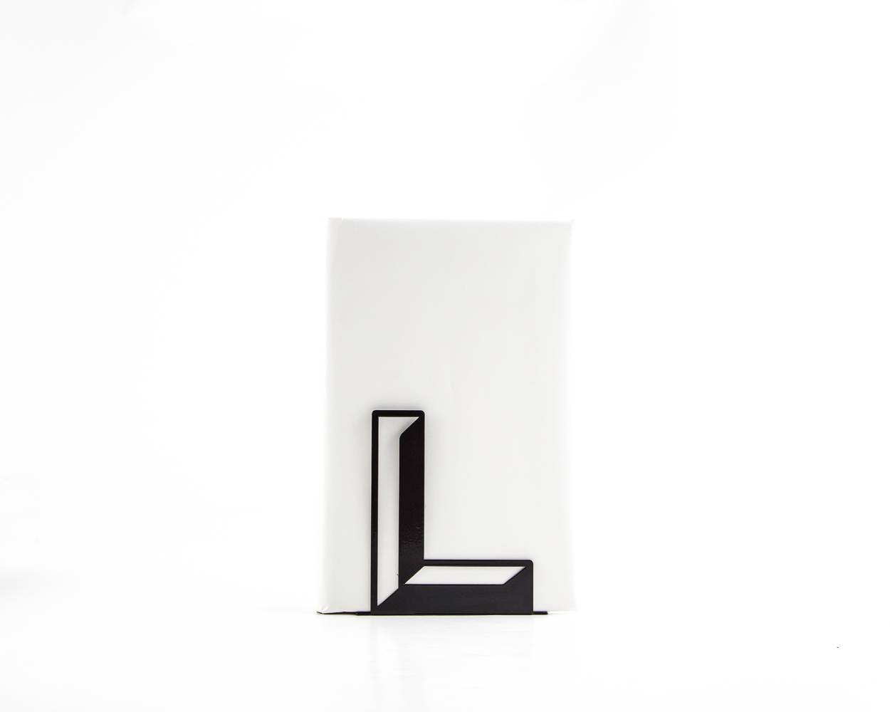 One metal bookend L -Letters are beautiful- alphabet series use to spell initials // secret message/anything meaningful to you/free shipping