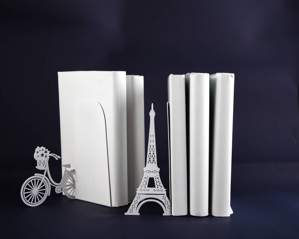 Unique Metal Bookends - Oh Paris - shelf decor // functional modern home decor // housewarming gift /decorative book holders / FREE SHIPPING