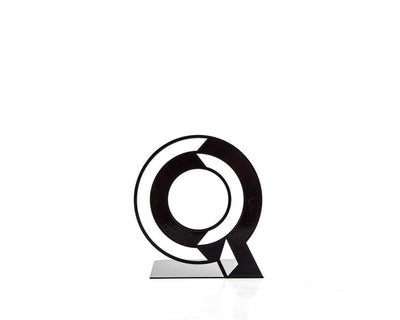 One metal bookend Q -Letters are beautiful- alphabet series use to spell initials // secret message/anything meaningful to you/free shipping