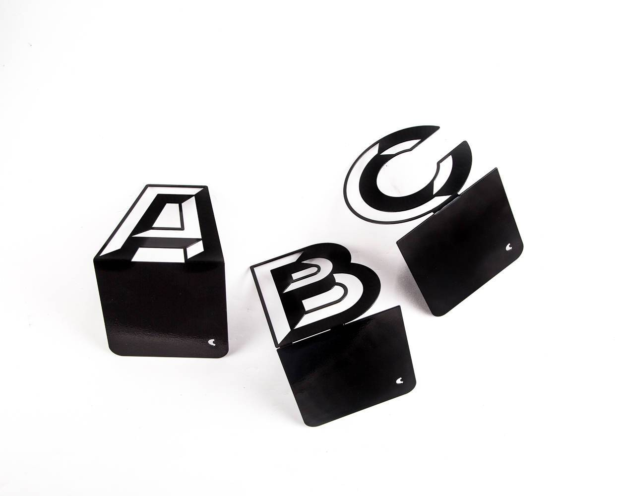 One metal bookend C -Letters are beautiful- alphabet series use to spell initials // secret message/anything meaningful to you/free shipping