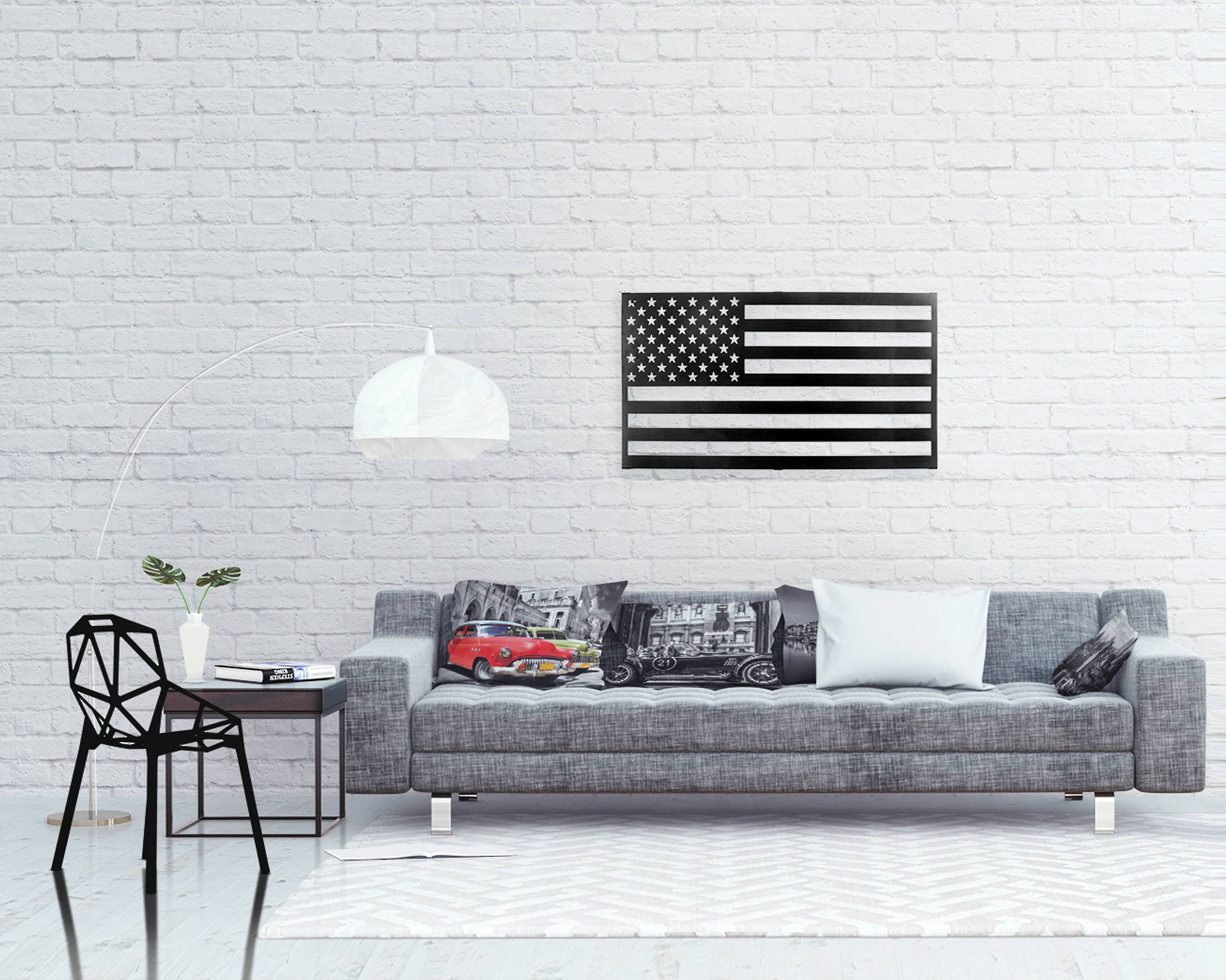 Metal  USA flag  Wall Art // Laser cut American Flag Metal Wall Hanging for a modern Home // Free Shipping Worldwide - Design Atelier Article