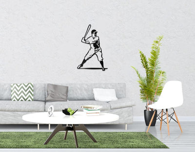 Metal Baseball Player // Laser cut Baseball player Batting Metal Wall Hanging for a home of a baseball fan // Free Shipping Worldwide - Design Atelier Article