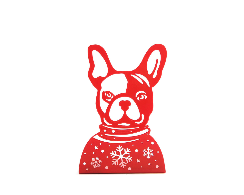 One Decorative  bookend // French bulldog Xmas edition // Festive modern decor for dog lover // FREE SHIPPING // perfect xmas gift // - Design Atelier Article