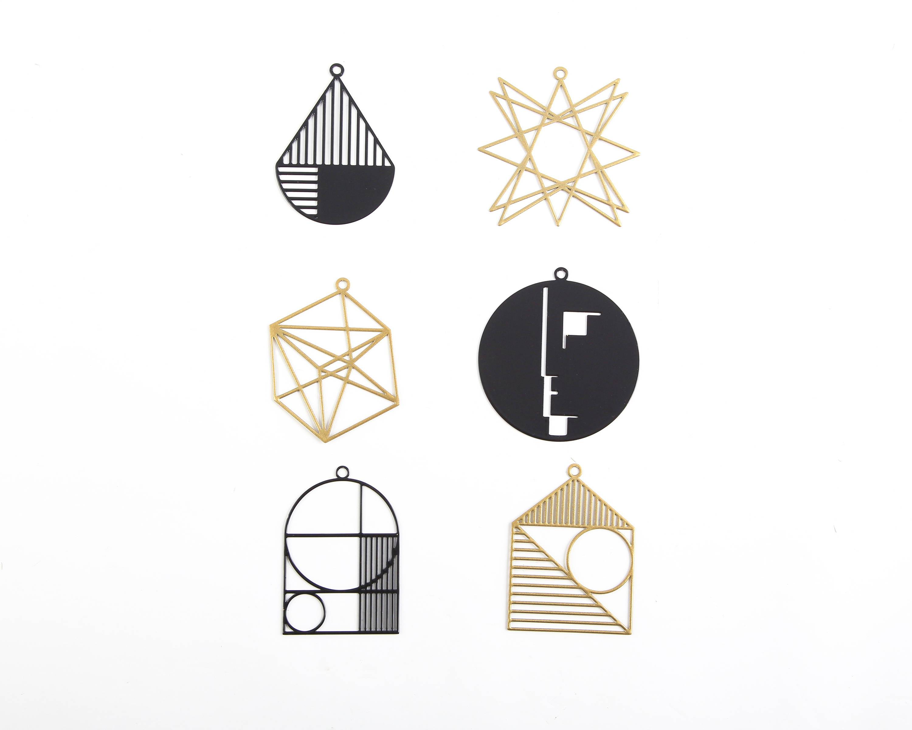 Minimalistic Bauhaus Geometry inspired Xmas ornaments a set of 6 // ready to give packaging // FREE SHIPPING - Design Atelier Article