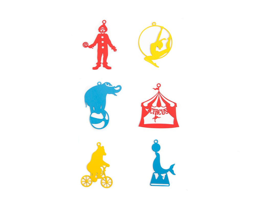 Minimalistic Christmas Tree ornaments Circus a set of 6