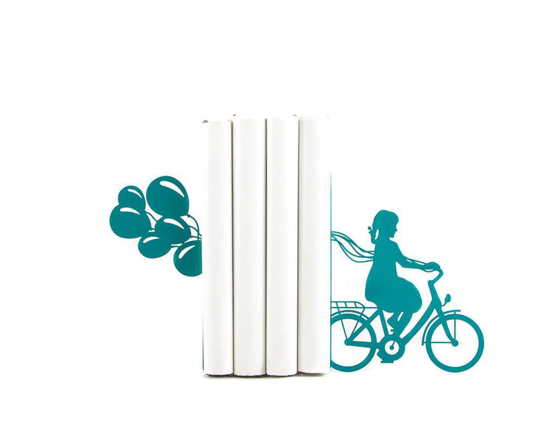 Children's Bookends A girl on the bike with balloons by Atelier Article - Design Atelier Article