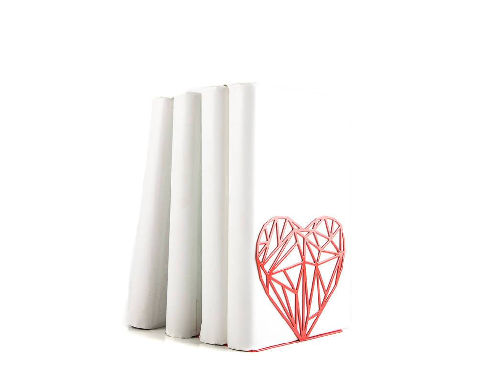 Metal bookends // My Polygonal heart // love book holders // modern functional shelf decor // FREE SHIPPING / housewarming gift - Design Atelier Article