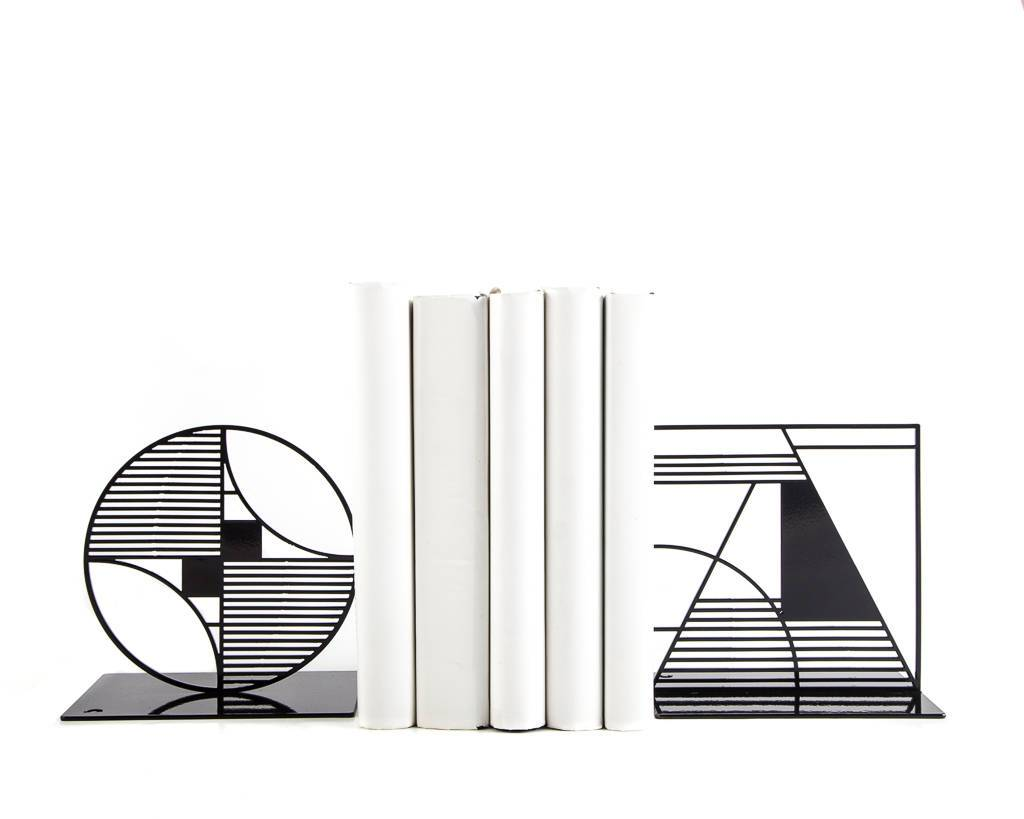 Metal Bookends - Shapes - Bauhouse inspired book holders // FREE  SHIPPING - Design Atelier Article