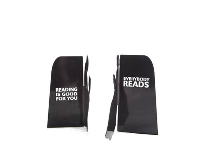Metal Bookends Everybody reads // Reading is good for you // Modern Home Decor / Gift for an avid reader/bookworm / Free Shipping Worldwide - Design Atelier Article