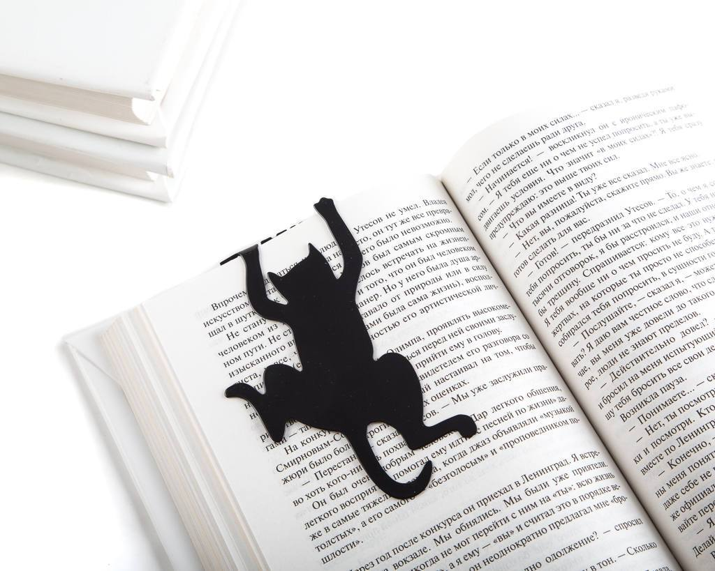 Metal book bookmark // Cat's Library // Gift for bibliophile feline lovers // Free shipping worldwide - Design Atelier Article