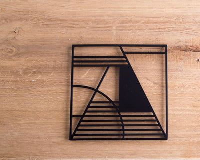 Metal trivet Geometry design //Bauhaus inspired // stylish housewarming gift // Free Shipping Worldwide - Design Atelier Article