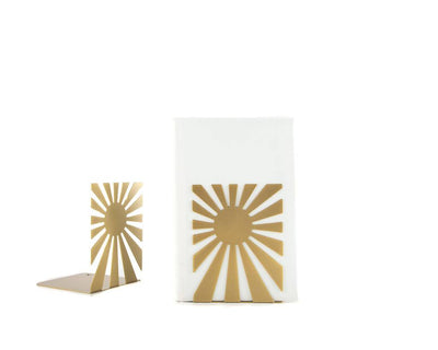 Metal bookends The Sun is in // golden metallic - Design Atelier Article